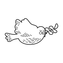 cute dove with olive branch vector illustration design