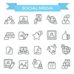 Social media icons, thin line design