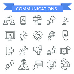 Communicating icons, thin line design