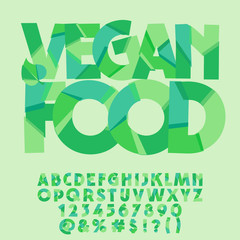 Vector green leaf alphabet. Graphic font with text Vegan food