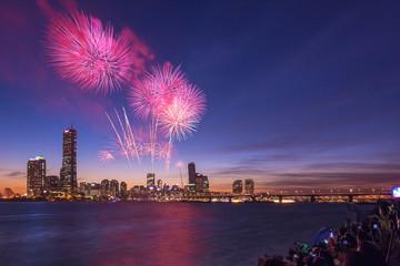 Fireworks Festival in Seoul city, South Korea.