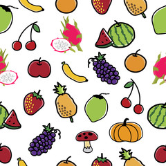 Fruit and Vegetable Pattern Seamless  background.