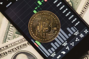 Picture of crypto money, smartphone