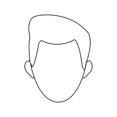 man face character contour image vector illustration