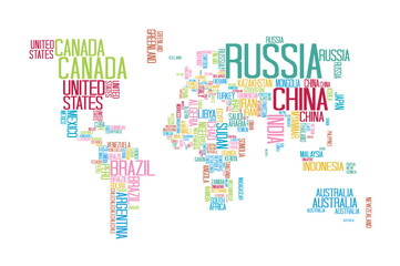 World Map with Countries name Text or Typography with Colorful color separate by country