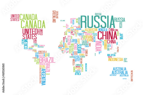 World Map with Countries name Text or Typography with Colorful
