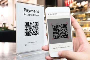 Qr code payment , online shopping , cashless technology concept. Coffee shop accepted digital pay...