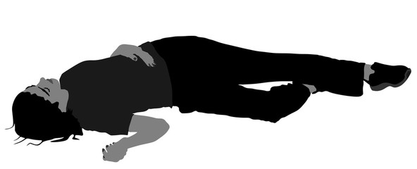 Dead girl lying on the sidewalk vector silhouette illustration. Drunk girl after party. Patient women rescue. Drunk person overdose. Sick teenager.