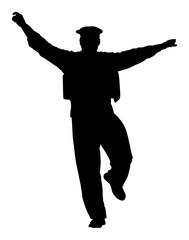 A Greek Evzone dancing vector silhouette isolated on white background. Dancing man silhouette vector illustration. Traditional dance. Greek symbol.  Sirtaki, Syrtaki, Zorba dance.
