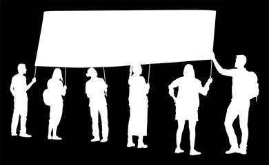 Group of protester vector silhouette illustration. Hand holding sign. Man hand. Empty editable plate isolated. Blank protest sign. Political agitation campaign. Propaganda poster. Agitation campaign.
