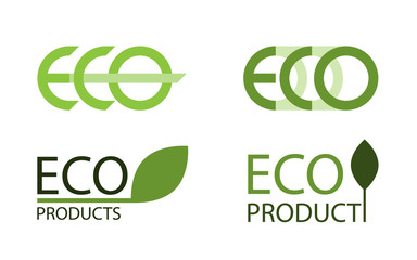Logo set of eco labels, isolated vector