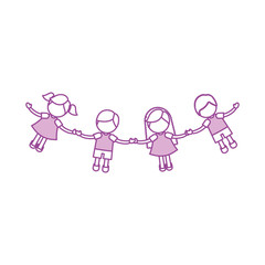 Children holding hands characters vector illustration design