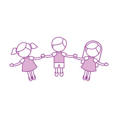 Children holding hands characters vector illustration design