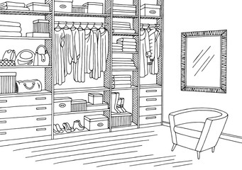 Wardrobe room graphic black white interior sketch illustration vector