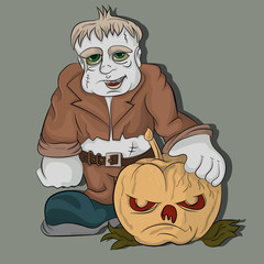 Monster holds a pumpkin for a halloween party