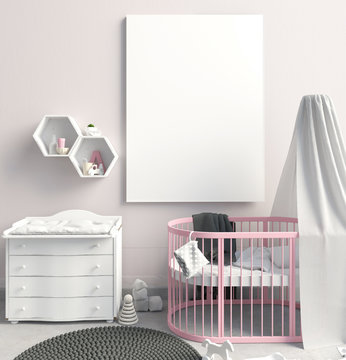 Mock up poster in interior of the child. sleeping place. modern style. 3d illustration