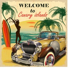 Welcome to Canary Islands retro poster