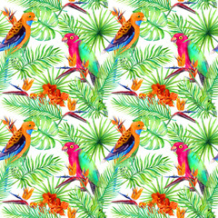 Jungle parrots, exotic plants - palm, monstera, flowers. Repeating pattern. Aquarelle