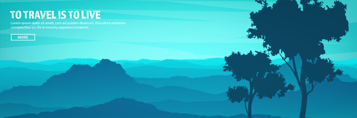 Mountains and forest header. Wild nature landscape. Travel and adventure.Panorama. Into the woods. Horizon line.Trees,fogfog.