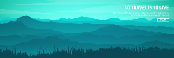 Printed roller blinds Mountains Mountains and forest header. Wild nature landscape. Travel and adventure.Panorama. Into the woods. Horizon line.Trees,fogfog.