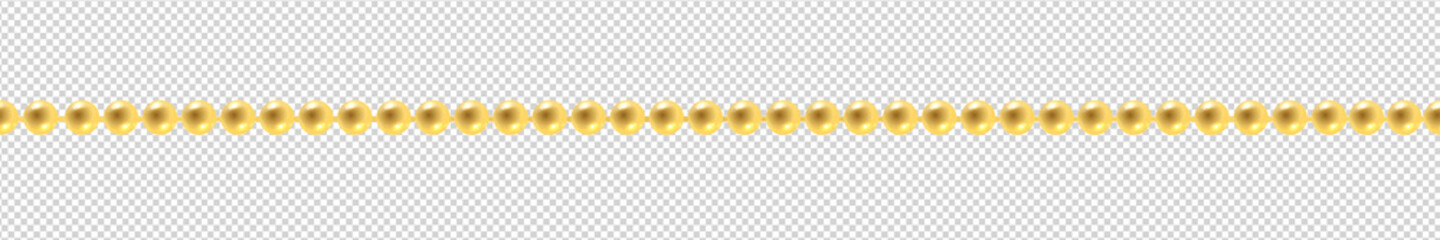 Vector realistic isolated golden beads necklace seamless pattern for decoration and covering on the transparent background. Concept of jewelry and beauty.
