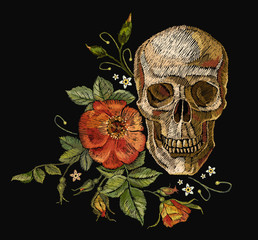 Embroidery skull and roses. Dia de muertos, day of the dead art. Gothic romanntic embroidery human skulls red roses, clothes template and t-shirt design vector