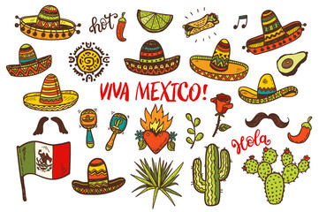 hand drawn colored Mexican elements collection.  Independence day, Cinco de mayo celebration, party doodle decorations for your design.