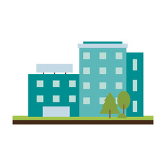 blue city building icon image vector illustration design