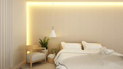 bedroom and living area in hotel or apartment - interior design - 3D Renderinig