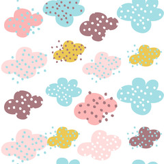 Seamless pattern with clouds and hand drawn shapes. Creative vector childish background for fabric, textile