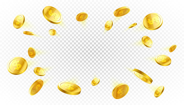 Explosion of gold coins with place for text on transparent background