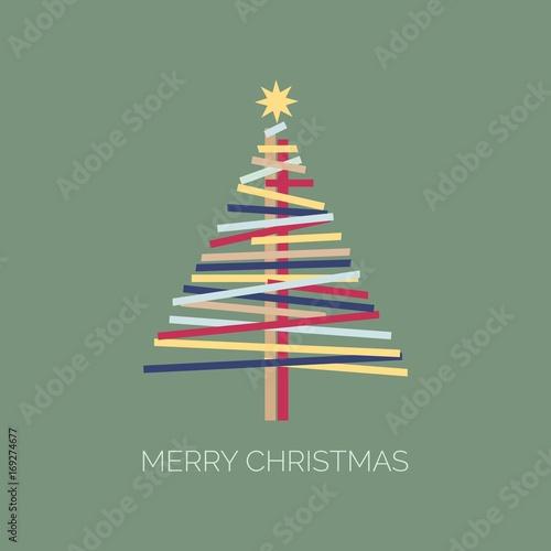Moderne Grußkarte zu Weihnachten mit Schriftzug Merry Christmas und ...
