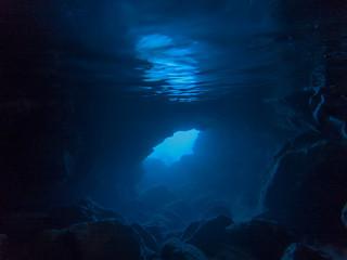 Canvas Prints Night blue underwater entrance