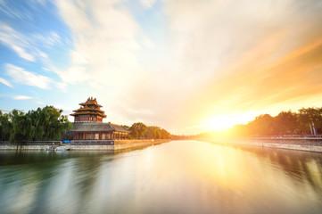 forbidden city at sunset,Beijing,China.