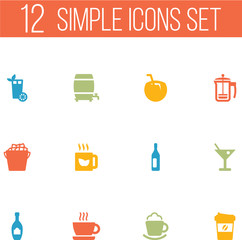 Set Of 12 Beverages Icons Set.Collection Of Cup, Cream, Alcohol And Other Elements.