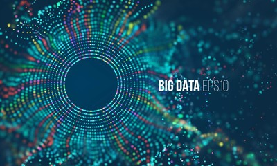 Abstract colorful particle grid with bokeh. Science dust with glow. Futuristic bigdata visualization
