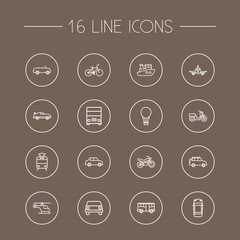 Set Of 16 Shipping Outline Icons Set.Collection Of Motorcycle, Helicopter, Moped And Other Elements.