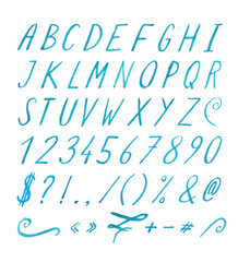 Handwritten font with punctuation marks