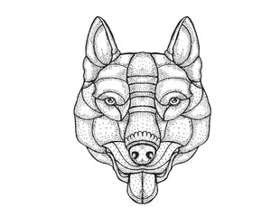 Detail Dotted Style Hand Drawing Dog Illustration - Pitbull