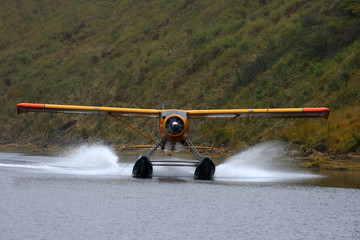 Seaplane landing on a lake in alaska