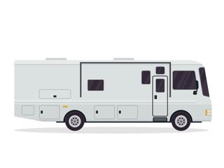 Modern Flat RV Motorhome Vehicle Logo Illustration