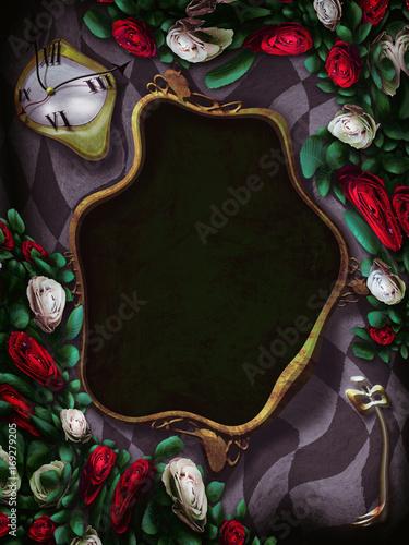 Alice In Wonderland Red Roses And White Roses On Chess Wonderland