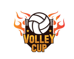 Modern Professional Isolated Sports Badge Logo - Flaming Hot Volley Cup Competition