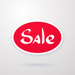 Vector illustration. Oval red tag of special offer sale. Discount price label. Sale promo marketing and symbol of advertising campaign in retail for shopping days. Sticker isolated on white background