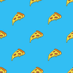 Vector illustration. Seamless pattern with pizza slice in pop art style on blue background. Fast food and italian cuisine. Pattern with contour