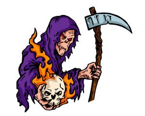 Vintage Tattoo Art Illustration - Scary Grin Reaper Holding A Flaming Skull