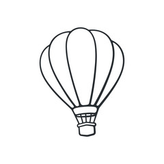 Vector illustration. Hand drawn doodle of hot air balloon. Air transport for travel. Cartoon sketch. Isolated on white background