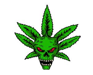 Vintage Tattoo Art Illustration - Organic Scary Cannabis Skull