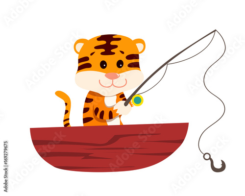 Cute Tiger in Fisherman Uniform Illustration Suitable for Education, Card, T-Shirt, Social Media, Print, Book, Stickers, and Any Other Kids Related Activities