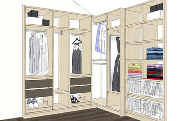 3D rendering. Modern wardrobe with folded and hanging clothes.